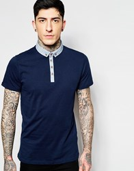 Brave Soul Contrast Chambray Collar Polo Shirt Navy