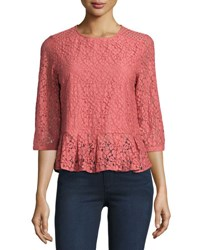 Dance And Marvel Lace Overlay Peplum Top Light Pink