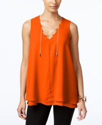 Ny Collection Chain Lace Up Top Koi