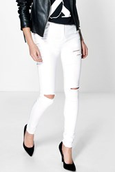 Boohoo High Waisted Ripped Skinny Jeans White