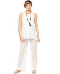 A Pea In The Pod Maternity Lace Wide Leg Pants White
