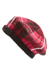 Women's Kate Spade New York 'Woodland Plaid' Beret Pink