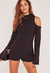 Missguided Black Cold Shoulder Flare Sleeve Playsuit