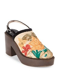 Free People Beaded Floral Embroidered Wooden Platform Clogs Beige
