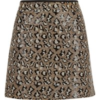 River Island Womens Silver Sequin Animal Print Mini Skirt