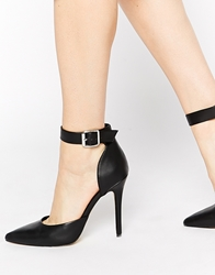 London Rebel Stakes Ankle Strap Court Shoes Black
