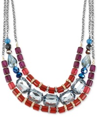 Macy's Haskell Necklace Hematite Tone Multi Color Bead Three Row Necklace