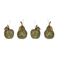 Amara Sequin Apple And Pear Christmas Tree Decoration Set Of 4 Green