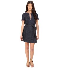 See By Chloe Embellished Denim Short Sleeve Dress Indigo