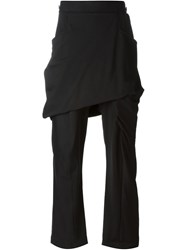 Thamanyah Layered Loose Fit Trousers Black