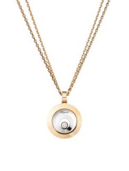 Chopard Happy Spirit Diamond 18K Rose And White Gold Double Circle Pendant Necklace Rose Gold