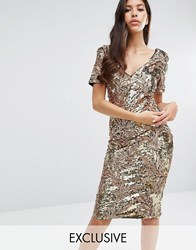 Club L Sequin Midi Dress With Cap Sleeve Gold 3D Sequin