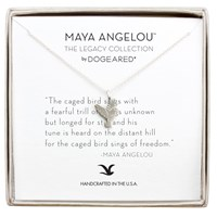 Dogeared Maya Angelou Caged Bird Sings Pendant Necklace Silver