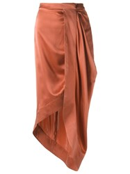Giuliana Romanno Silk Midi Skirt Pink Purple