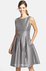 Women's Alfred Sung Dupioni Fit And Flare Dress Quarry