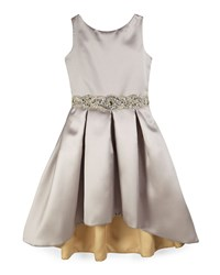 Zoe Sleeveless Pleated Sateen High Low Dress Silver