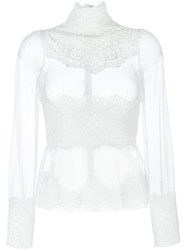 Dolce And Gabbana Sheer Lace Detail Blouse White