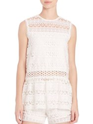 Alexis Georgette Embroidered Tank White Embroidery