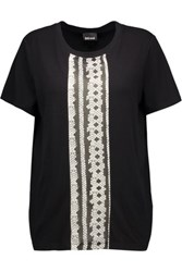 Just Cavalli Printed Georgette And Stretch Jersey T Shirt Black
