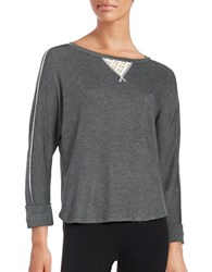 Karen Neuburger Lace Inset Sweatshirt Grey