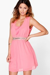 Boohoo Ada Embellished Lace Skater Dress Coral