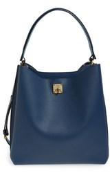 Mcm 'Large Milla' Leather Hobo Blue Navy Blue