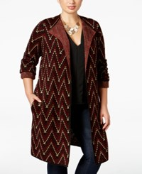 Ny Collection Plus Size Jacquard Knit Sweater Jacket Alex
