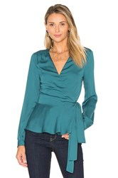 L'academie The Long Sleeve Wrap Blouse Teal