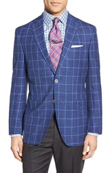 Men's David Donahue Classic Fit Windowpane Wool Silk And Linen Blend Sport Coat