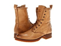 Frye Veronica Combat Camel Soft Vintage Leather Women's Lace Up Boots Tan