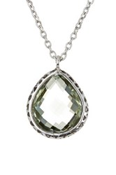 Lois Hill Sterling Silver Green Amethyst Teardrop Pendant Necklace