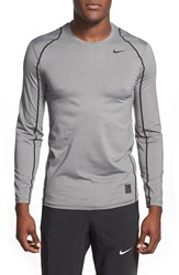 Nike 'Pro Cool Compression' Fitted Long Sleeve Dri Fit T Shirt Carbon Heather Black Black