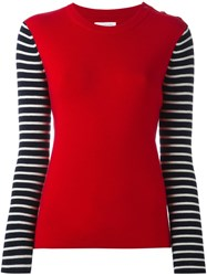 Chinti And Parker Breton Sleeve Sweater Red