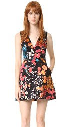Alice Olivia Pacey V Neck Lantern Dress Floral Field Burnout