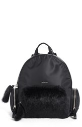 Moncler 'Florine' Genuine Rabbit Fur Trim Backpack Black