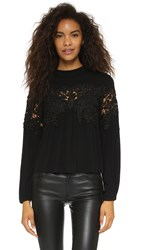 Re Named Crochet Peasant Blouse Black