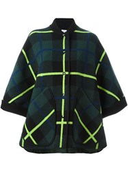 M Missoni Checked Cape Sleeves Jacket Green