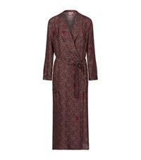 Burberry Runway Paisley Silk Duster Coat Female Burgundy