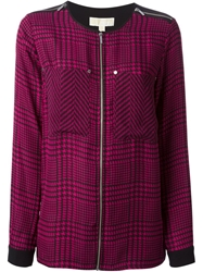 Michael Michael Kors Sheer Panel Houndstooth Blouse Pink And Purple