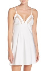 Kate Spade Women's New York Mesh Trim Charmeuse Chemise Ivory
