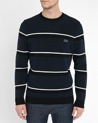 Lacoste Navy Striped Crocodile Logo Chest Made In France Round Neck Sweater Black
