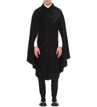 Alexander Mcqueen Swallow Embroidered Wool And Cashmere Blend Cape Black