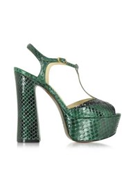 L'autre Chose Emerald Green Embossed Croco Leather And Glitter Platform Sandal