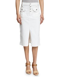 7 For All Mankind Utility Button Front Long Denim Skirt White Women's