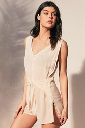Out From Under Kits Beach Tie Front Romper Ivory
