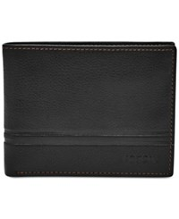 Fossil Men's Watts Leather Bifold With Flip Id Black
