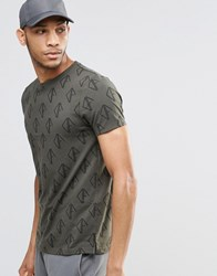 Asos T Shirt With All Over Print Khaki Green