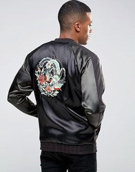 Asos Oversized Jersey Souvenir Bomber Jacket With Embroidery Black