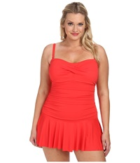Lauren Ralph Lauren Plus Size Laguna Solids Twist Shirred Skirted Slimming Fit One Piece Bright Coral Women's Swimsuits One Piece Gray