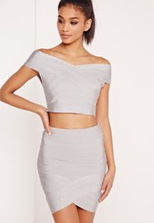Missguided Premium Bandage Wrap Mini Skirt Silver Grey